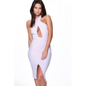 Boohoo Ina Crossfront Asymmetric Midi Dress